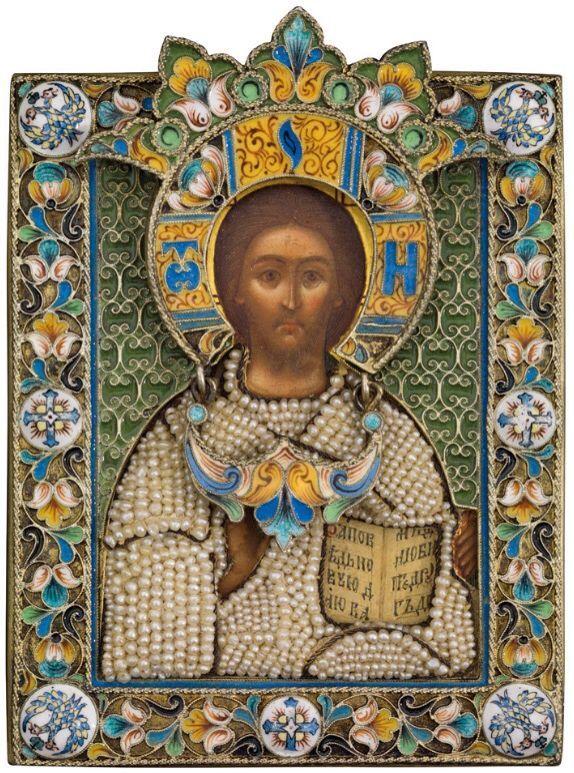 Миниатюрная икона Христа Пантократора.Оклад серебряный с позолотой ...