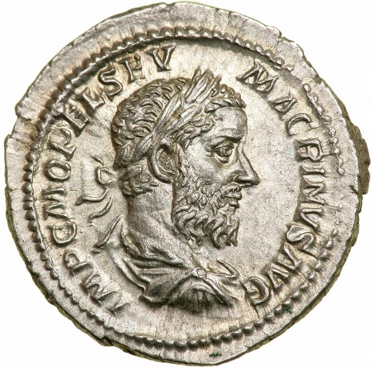 Macrinus. Silver Denarius (3.5 g), AD 217-218.. EF Rome. IMP C M OPEL SEV MACRINVS AVG, laureate, draped and cuirassed bust of Macrinus right. FIDES MILITVM, Fides standing facing, head right, resting foot on globe, holding two standards. RIC 67; BMC 65; RSC 23f. Well struck and well centered on a large flan, lightly toned. The first equestrian to attain the throne of Rome, Macrinus was of Berber descent from Mauretania. He had been a notable jurist, served as an important bureaucrat under…