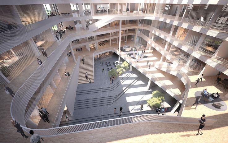 New offices in Copenhagen by aarhus arkitekterne #lobby #atrium #kalvebodbrygge #danisharchitecture #scandinavianarchitecture #office #aarhusarkitekterne
