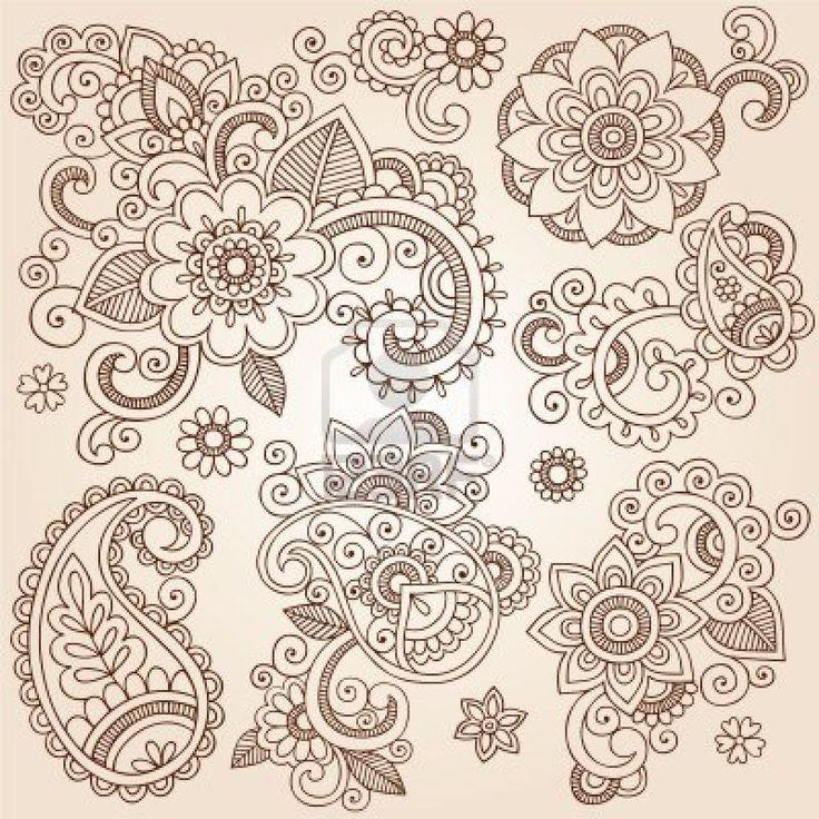 Henna Paisley Flowers Mehndi Tattoo Doodles Set- Abstract Floral Vector Illustration Design Elements Stock Photo