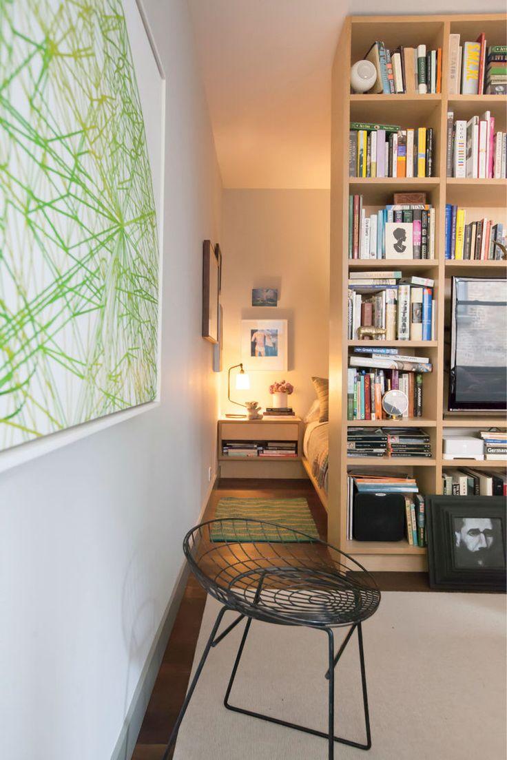 Small Modern New York City Studio With White Oak Bookcase Divider Micro ApartmentBrooklyn ApartmentApartment IdeasStudio