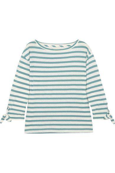 Madewell | Marisol striped slub cotton and linen-blend top | NET-A-PORTER.COM