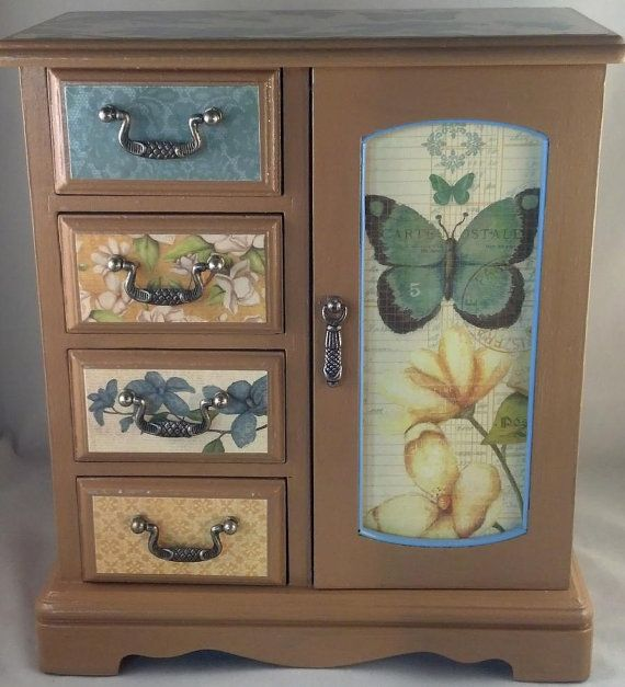 Golden Brown Butterfly Upcycled Jewelry Box by JewelryBoxesEtc, $62.00