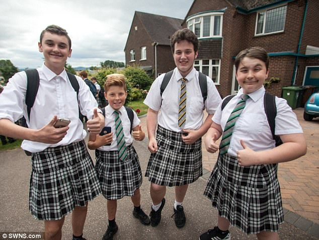To hot for trousers  Exeter teen schoolboys turn up for class dressed in skirts...lol