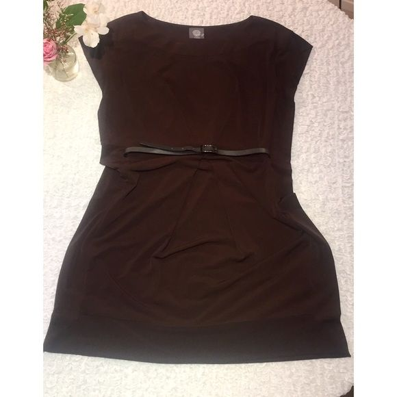 """Weekend Sale!!  Flash Sale Vince Camuto Dress Very classy and elegant dark brown dress comes with removable belt. Capped sleeves, hidden side zipper. In perfect condition worn twice to work. 35"""" long, 17"""" bust, 14"""" waist. Will ship within 1-2 days. Please no trades, thanks for stopping by :) Vince Camuto Dresses Mini"""