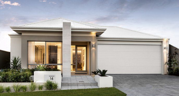 Striking elevation with tiled feature pier and Colorbond roof