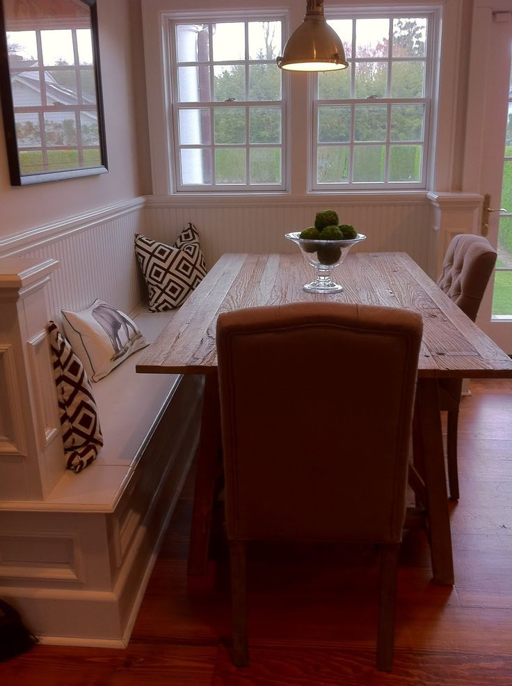 corner bench with dining table  this could be perfect as a half wall     corner bench with dining table  this could be perfect as a half wall in our dining  room space  and would allow for      Integrating the Elements   Design
