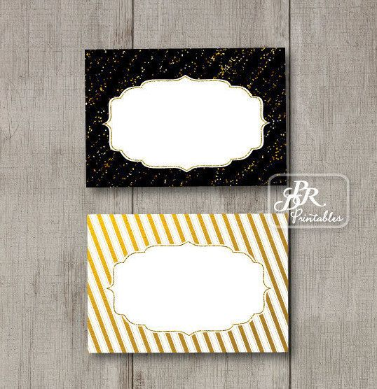 Gold Foil Food Tent Cards Printable Buffet Labels by PDRPrintables