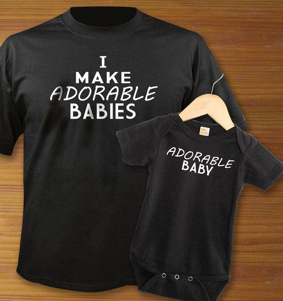 I Make Adorable Babies Adult Shirt And Black Baby Onesie Bodysuit PAIR €22.50 @Etsy