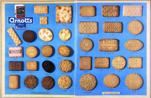 All the Arnott's biscuits. You can still buy most of them! 1953.