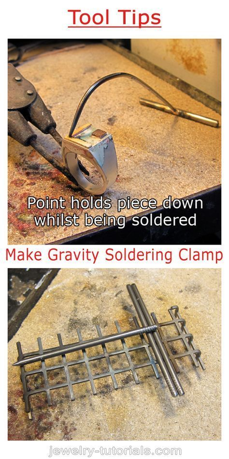 This gravity soldering clamp is easy to make and can be used when binding wire or spring tweezers are not suitable to hold a component in place while soldering.