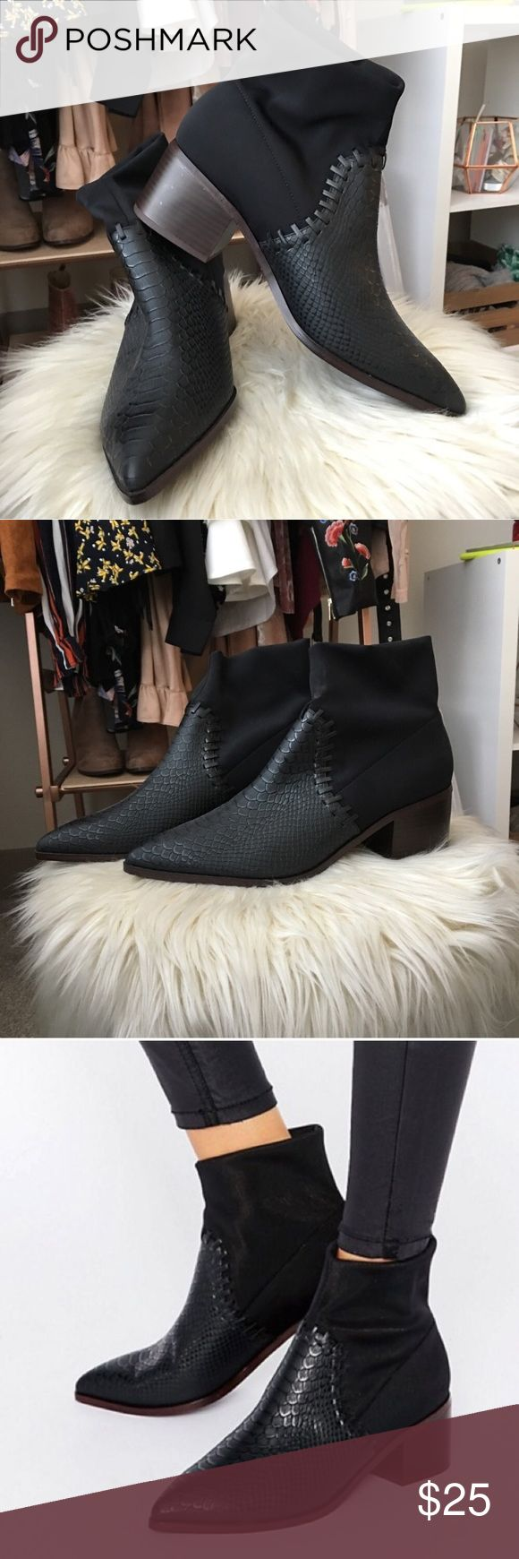 ISO Black Pointed Booties These are the ASOS Reynolds ankle boots. Currently looking for in a size 9 or 9.5. Any pointed ankle boot with a flat heel would work, the texture would be a plus! Comment here if you see any. DO NOT BUY THIS LISTING. ISO MEANS IN SEARCH OF. ASOS Shoes Ankle Boots & Booties