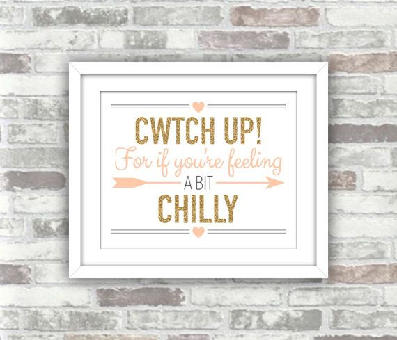 INSTANT DOWNLOAD - Cwtch Up Welsh Wedding Printable Sign for Blankets Pashminas - Digital Print File - Gold Blush Pink Peach Wales language