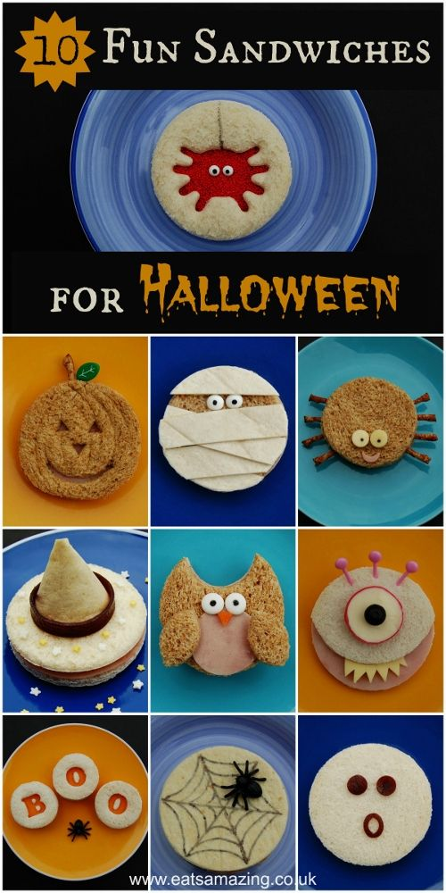 Fun and easy Halloween food ideas for kids - 10 fun Halloween sandwich ideas, all made with circle cutters! fun food for kids from Eats Amazing UK