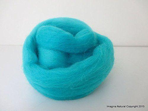 Free Shipping Light Blue Handmade Merino Roving Wool Hand Spinning Felting Fibre Araucania Craft Art Chilean Knitting Chunky 18 Micron