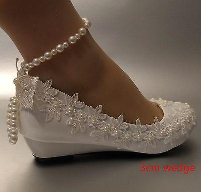 Detalhes sobre renda su.cheny em cristal branco marfim de cunha baixa com salto alto para casamento   – Schuhe