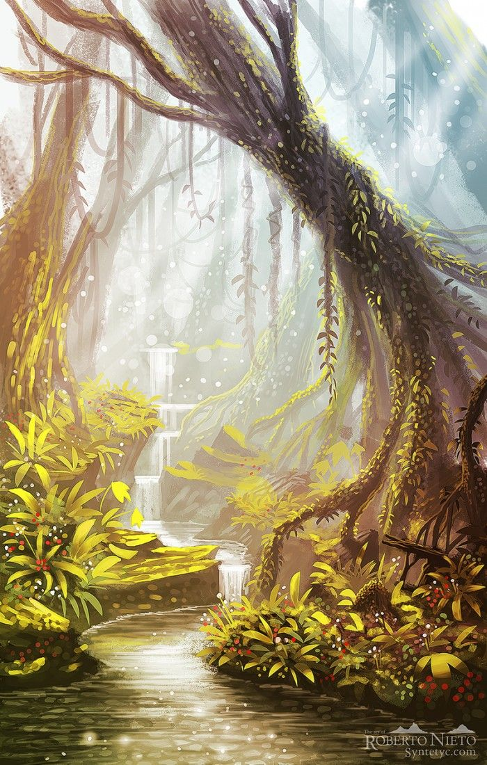 fantasy jungle landscape landscapes forest places anime syntetyc digital deviantart artwork drawing magical dymoonblog castle fairy illustration nieto roberto drawings