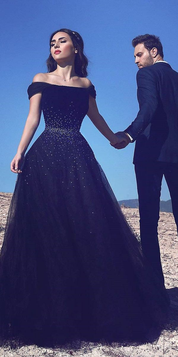 (The beading at the waist reminds me of stars in a galaxy. -rhc) Black Wedding Dresses Ideas For Fashion Forward Brides ❤ See more: http://www.weddingforward.com/black-wedding-dresses/ #weddings