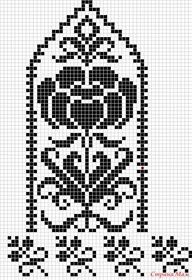 Rose and Scrollwork Mitten