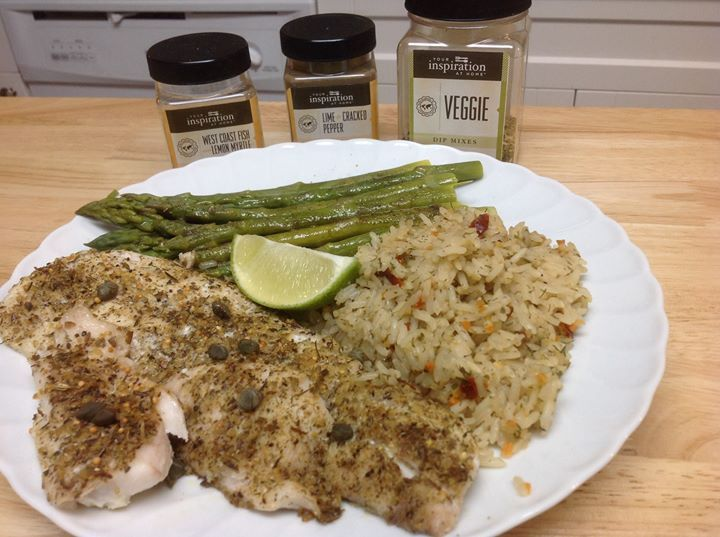 Good Friday Fish Dinner - Baked haddock lightly brushed with YIAH Mediterrean Extra Virgin Olive Oil, then seasoned with YIAH West Coast Fish with Lemon Myrtle and topped with capers. Rice made with chicken broth and YIAH Veggie Dip and finally steamed asparagus with touch of butter and sprinkling of YIAH Lime and Cracked Pepper!    #yiah