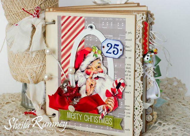Retro Christmas Mini Album Using Polly's Paper Studio Creativity Kit www.sheilarumney.com