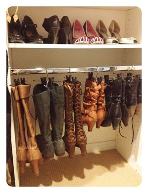 Simplify Your Closet: Have a case of Collapsed Boots? Grab a tension shower curtain rod. Lock it in place and hang 'dem boots! #universaltrim