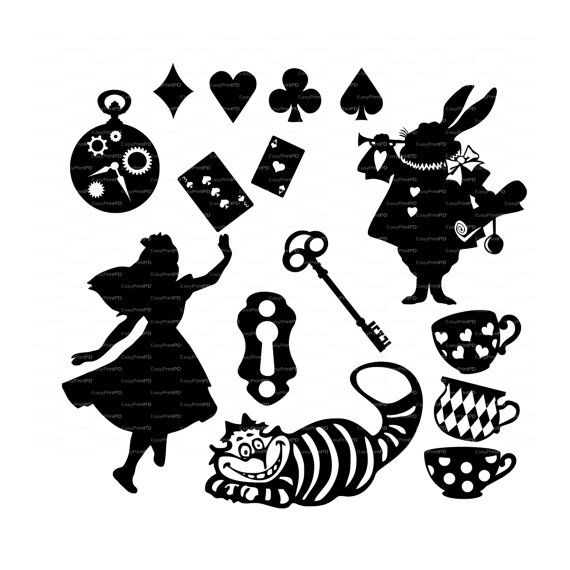 Alice in Wonderland Vectors Overlay Wall Decor Decal Vinyl, Diecutting, Cameo Silhouette, Cricket EasyCutPrintPD  • Instant Digital Download