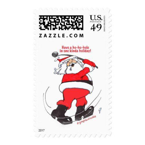 Santa golfing Christmas gifts. Postage
