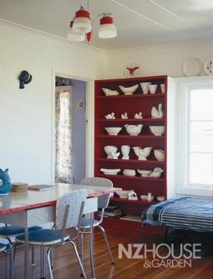 Lovely Crown Lynn - love the contrast with the red shelves