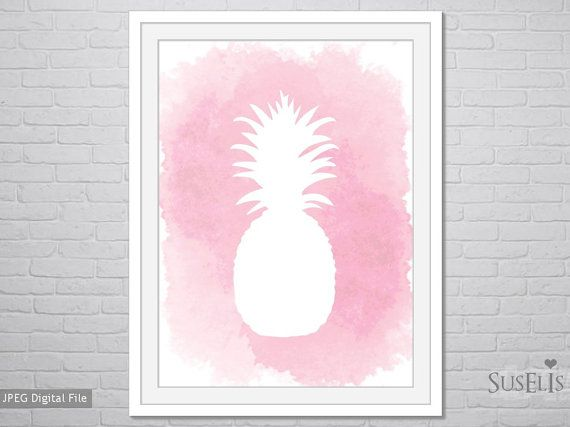 Pineapple wall art Watercolor Print Pink print 8x10 by Suselis
