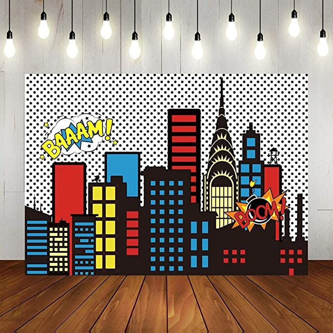 Amazon Com 7x5ft Photography Background Super Hero Super City High Buildings Theme Backdrops For Kids Birthday Party Decorations In 2020