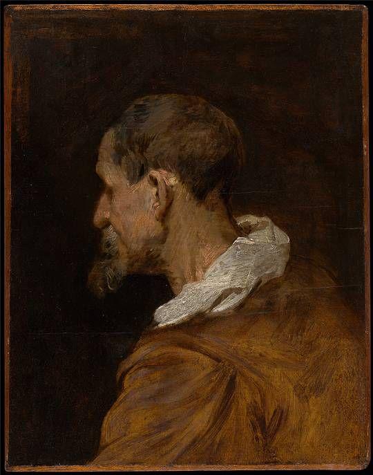 Anthony van Dyck, Studie van een oude man met baard in profiel naar links, KMSKA