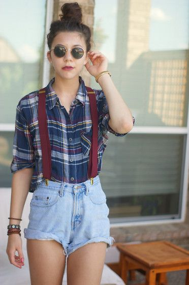 Thrfited Vintage Sunnies, Thrifted Burgundy Suspenders, Thrifted Shorts