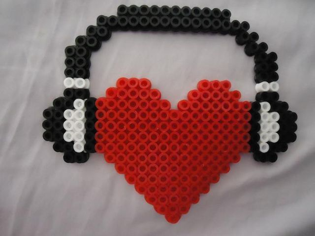 Heart Headphone Perler Beads