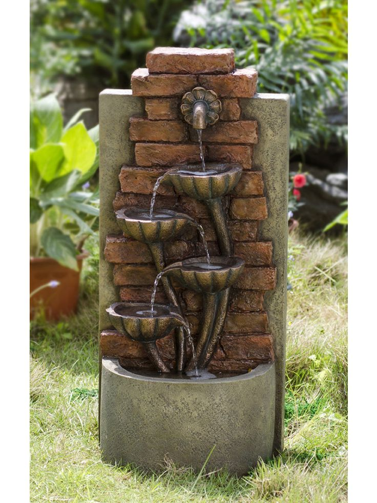 Cascading Bowls Wall Indoor Outdoor Water Fountain Water