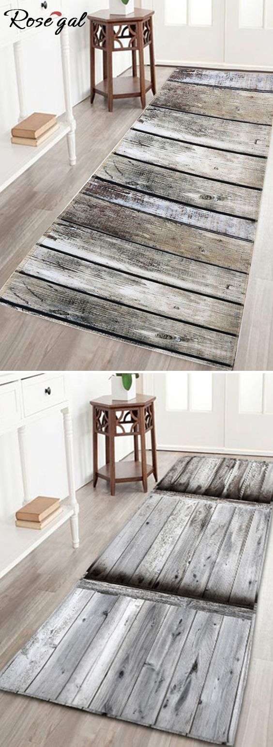 Antiskid Water Absorption Bathroom Rug with Wood