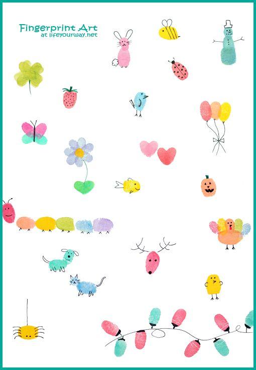 Fingerprint Art and a FREE Printable Fingerprint Calendar - send your sponsored child some fingerprint art from all of your family members