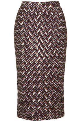Chevron Sequin Tube Skirt