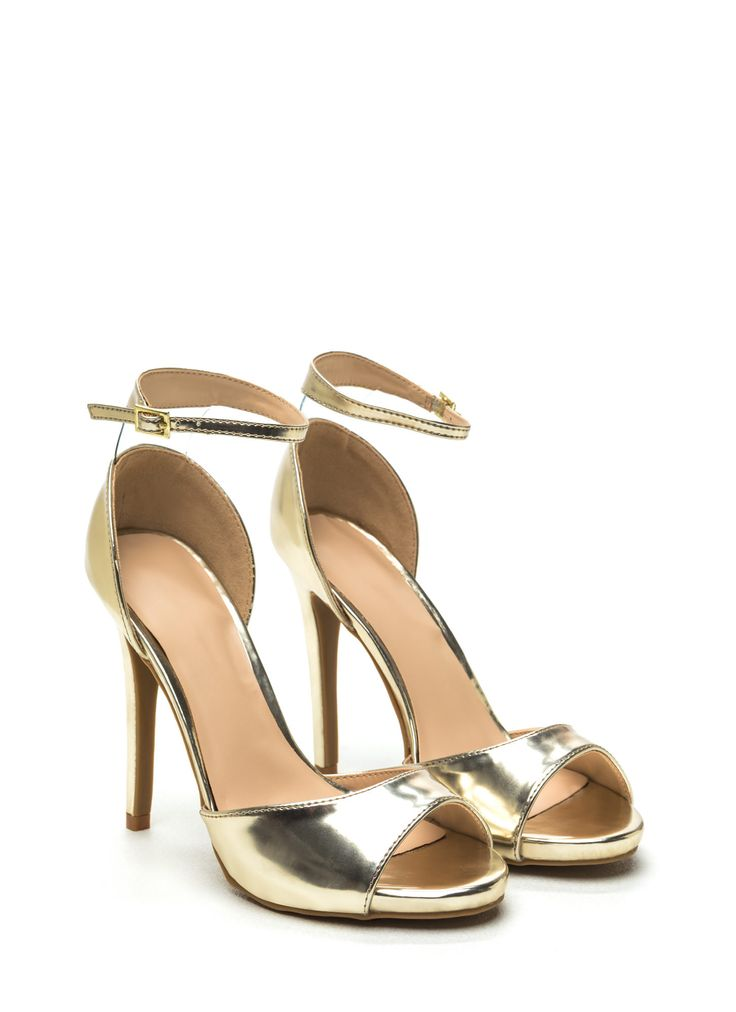 Miss Metallic Faux Patent Heels GOLD: