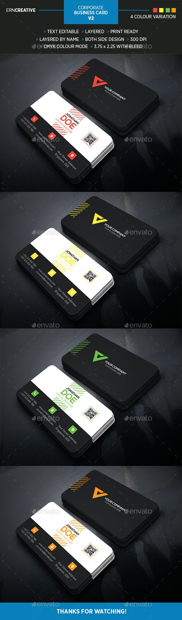 Corporate Business Card V2 - Business Cards Print Templates