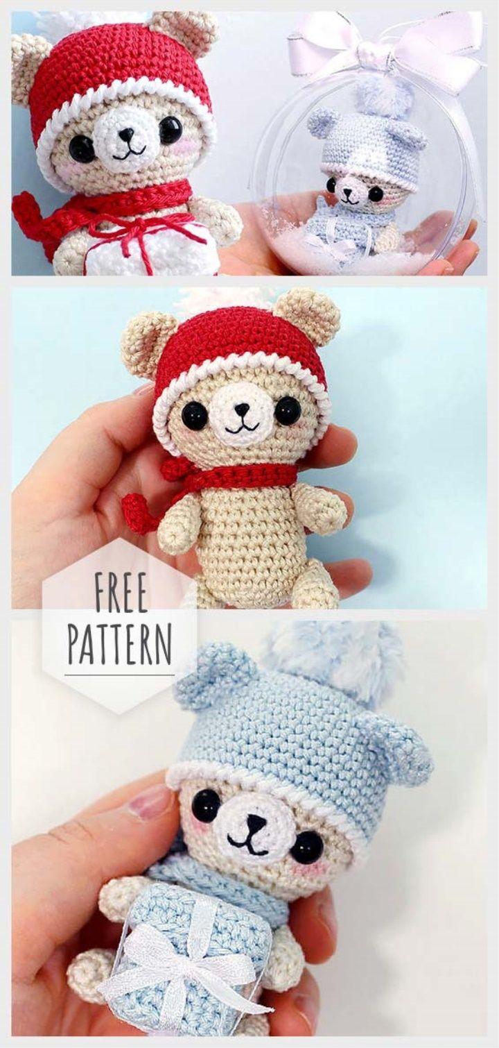 New Year Amigurumi Bear With A Gift Amigurumi Natale Pinterest