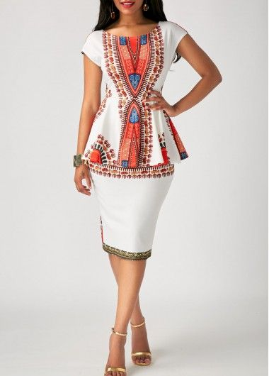 Printed White Peplum Waist Sheath Dress on sale only US$33.08 now, faster shipping and free shipping worldwide at Rosewe.com