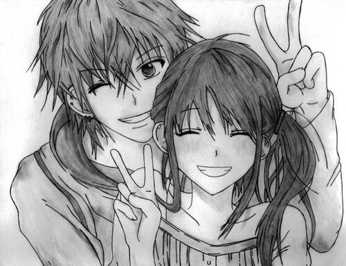 ✮ ANIME ART ✮ anime couple. . .love. . .peace signs. . .smile. . .anime boy. . .anime girl. . .cute. . .pencil drawing. . .graphite. . .doodle. . .cute. . .kawaii