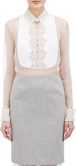 ♥ -- WHITE SHIRT --  ♥ -- white shirt --   Barong?  Gabriela Hearst Lace Bib Blouse