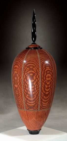 Kim Blatt Woodturning : Vessel Gallery One : Tall Leopard Wood Vessel