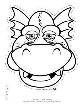 This Grinning Dragon Outline Mask features the outline of a grinning dragon with half-closed eyes. Free to download and print