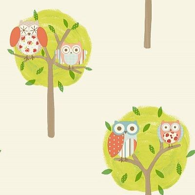 Twit-Twoo (11111) - Albany Wallpapers - Pretty patchwork owls in simple tree shapes  make the perfect nursery paper.  Shown here in oranges and greens on off white. Please request sample for true colour match.
