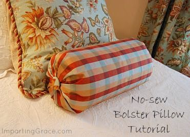 No-sew Bolster Pillow Tutorial | ImpartingGrace.com