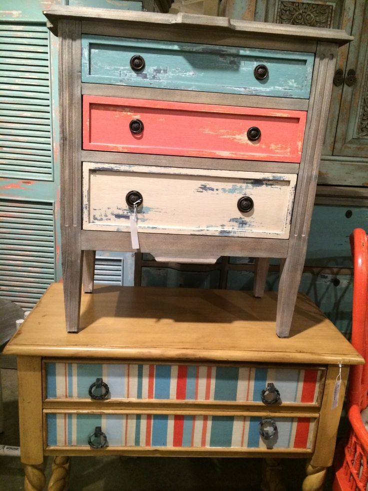 Painted, distressed chests to use as night stands or end tables with storage.