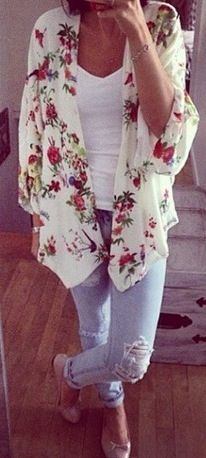 Katy, I'm definitely in the mood for flowers. I love this romantic kimono. The white with the wild flower print is so pretty and delicate.